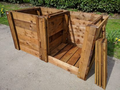 Compost Bin Double Close-Boarded w180cm x d90cm x h90cm with Aerating-Bases 2
