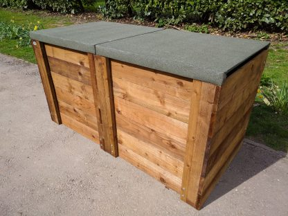 Compost Bin Double Close-Boarded w180cm x d90cm x h90cm with Lids 1