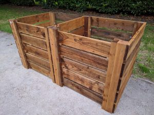 Wooden Compost Bin Double Slatted w180cm x d90cm x h90cm 1