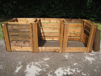 Wooden Compost Bin Triple Slatted w270cm x d90cm x h90cm 10