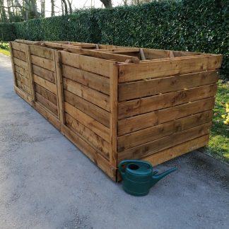 Compost Bin Triple Slatted w450cm x d150cm x h120cm 2