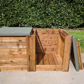 Wooden Compost Bin System Double Close-Boarded w180cm x d90cm x h90cm